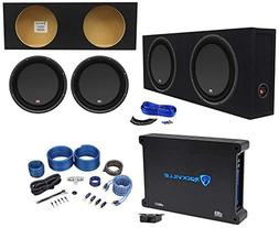 "MTX 3512-04S 12"" 1200w Shallow Subwoofers+Sealed Slim Box+A"