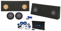 """Dual 10"""" Kicker Subwoofers+Sub Box+Amp+Wire Kit for 14-17 To"""