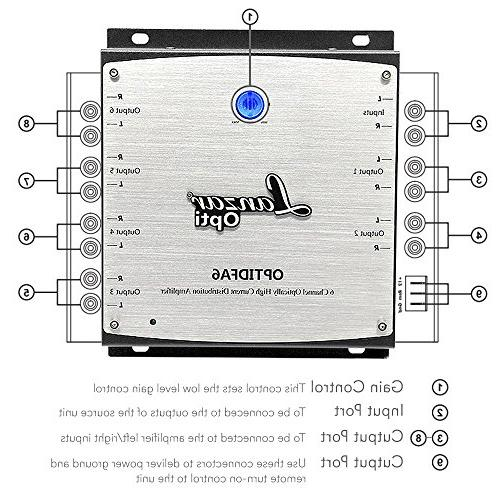 6-Channel High Distribution Amplifier Input 6 Isolated Stereo Outputs - Car Accommodates up to -