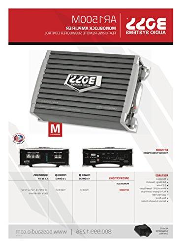 BOSS Audio AR1500M Car Amplifier Max Power, Ohm Stable, A/B, MOSFET Subwoofer