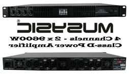 MUSYSIC Professional 4-Channels 2x9600 Watts D-Class 1U Powe